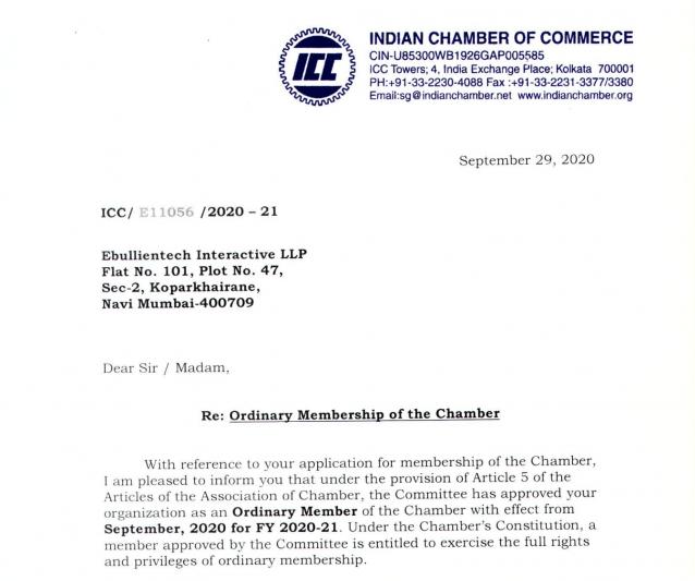 Ebullientech ICC Membership Certificate.